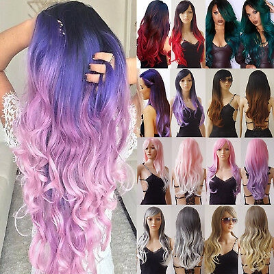 Long Hair Straight Wave Full Wig Ombre Pink Purple Black Red