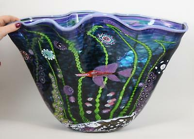 HUGE Vintage 1994 Mark Eckstrand Hand Blown American Art Glass Aquarium Bowl