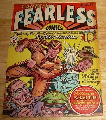 CAPTAIN FEARLESS comics #1 rare Holyoke WWII-era first appear. MISS VICTORY aero
