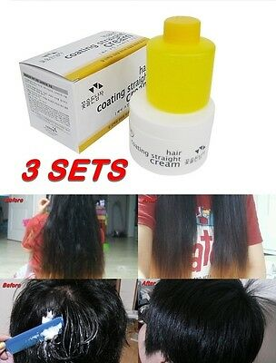 3 SETS Hair Coating Straight Cream Curly Hair Straightening  Kit / Straightener