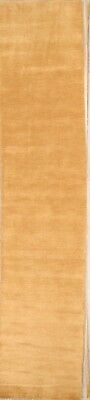 Contemporary Plain Gold 10' Runner Gabbeh Oriental Hand-Knotted Wool Rug 3'x10'