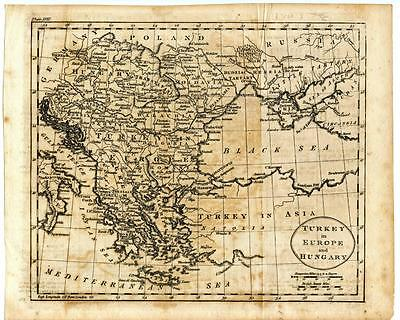 1795 Copper Engraving Hand Colored Map Turkey in Europe Hungary William Guthrie