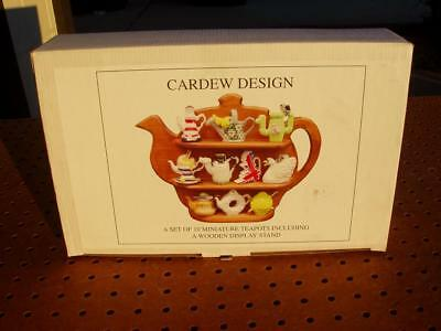 CARDEW DESIGN 10 MINIATURE TEAPOTS with WOODEN DISPLAY STAND NEVER USED EXC