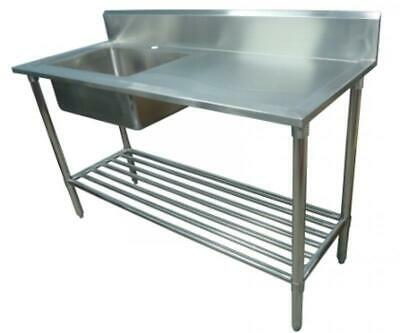 700x1900mm NEW COMMERCIAL SINGLE BOWL KITCHEN SINK #304 STAINLESS STEEL BENCH E0