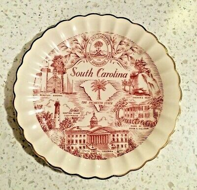 Vintage South Carolina -The Plametto State - Souvenir Plate