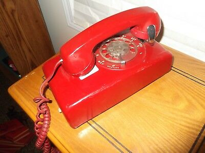Vintage Red Rotary Dial Wall Phone Telephone