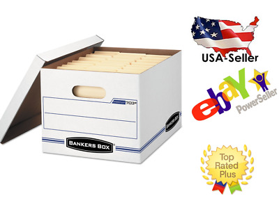 Original-Bankers Box Stor/File Storage Box Letter/Legal Lift-Off Lid White 6Pack