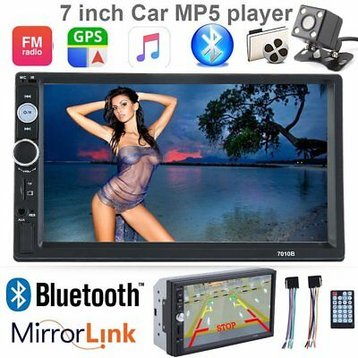 """7"""" 2 DIN Autoradio Bluetooth Navi 1080p Stereo MP5 Player FM RDS Touch USB AUX T"""