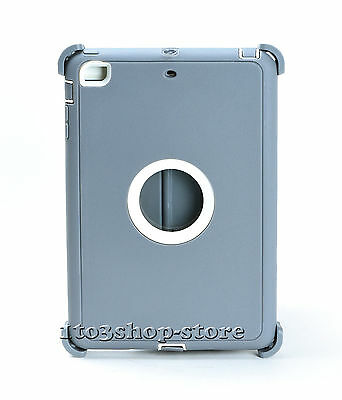 iPad Mini 3 2 1 Hard Shell Case w/Stand Cover fits Otterbox Defender Gray White