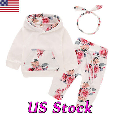 3PCS Toddler Newborn Baby Girl Boy Outfits Floral Clothes Hoodie Tops+Pants Set