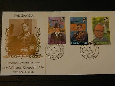 Gambia Stamps SG 320/2 set of 3 on FDC Birth Cent of Sir Winston Churchill 1974.