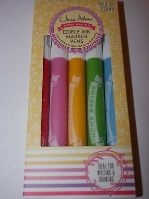 Jane Asher Home Baking Edible Ink Marker Pens 5 Food Colours Cake Decoration