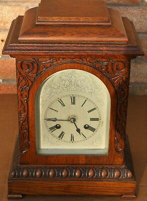 Fab Looking Large Junghans Carved Wooden Mantel Clock With Silver Coloured Dial