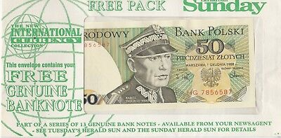 Sunday Herald Sun International Currency Collection 50 Polish Zlotych banknote