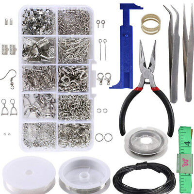 AU_1 Set Large Jewellery Making Kit Pliers Silver Beads Wire Starter Tool Home D