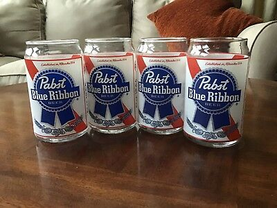PABST BLUE RIBBON PBR Beer Can Glasses Set Of 4