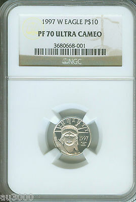 1997-W $10 PLATINUM STATUE LIBERTY NGC PF70 PROOF PR70 FIRST YEAR of ISSUE