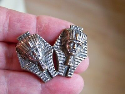 Old Vintage Jewellery Egyptian Revival King Tut 3D Double Mask Brooch Pin