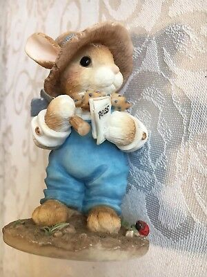 """1996 My Blushing Bunnies """"Friendship Is The Seed Of Life"""" Rabbit Farmer w/ Hoe"""