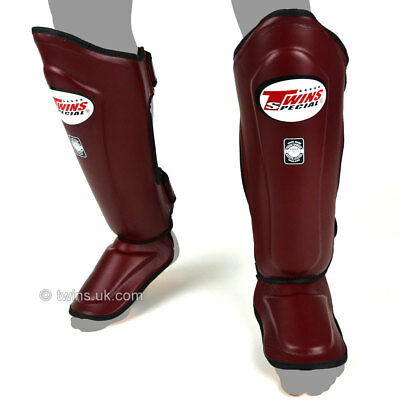 Twins Special Maroon Double Padded  Leather Muay Thai Boxing Shin Pads - SGL10