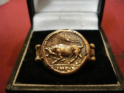 Ancient Roman Legionary Ring--'bull'--Legion Of Julius Caesar