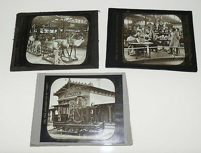 1876 Centennial Expo Fair LOT OF 3 GLASS LANTERN SLIDES