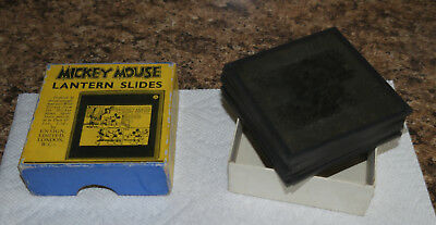 "1930s Disney MICKEY MOUSE ""Mickey Steps Out"" boxed J set of GLASS LANTERN SLIDES"