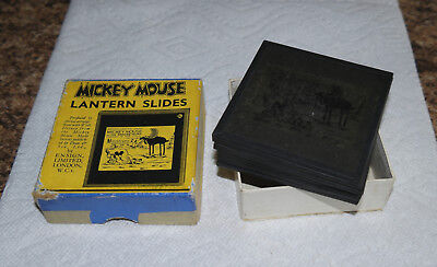 "1930s Disney MICKEY MOUSE ""Moose Hunt"" boxed H set of GLASS LANTERN SLIDES"