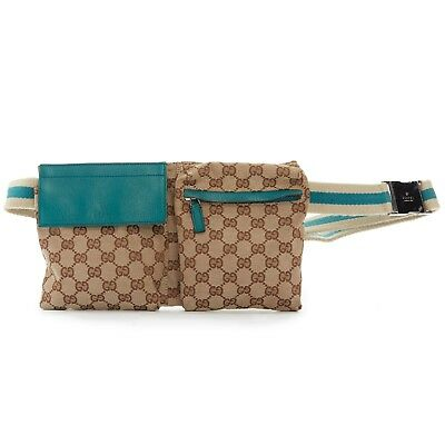 e55b56db844 GUCCI GG brown monogram canvas teal blue leather pouch fanny pack waist  belt bag
