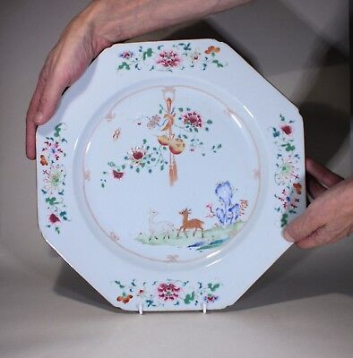 Antique Chinese Porcelain Famille Rose Charger Deer Rocks & Flowers circa 1750