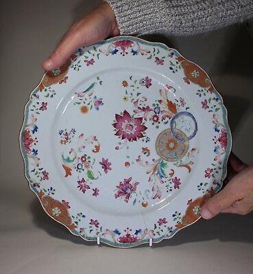 Antique Chinese Porcelain Famille Rose Charger Pseudo Tobacco Leaf circa 1750