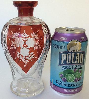 Antique/vtg~Intaglio cut to clear~Ruby Red~ floral Leaf bottle decanter