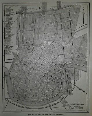 Antique 1914 City Map New Orleans, LA NOLA & Lower Manhattan New York NYC L@@K!