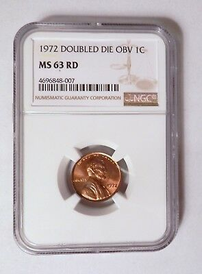 United States 1972 Doubled Die OBV 1c Lincoln Penny NGC MS63 RD