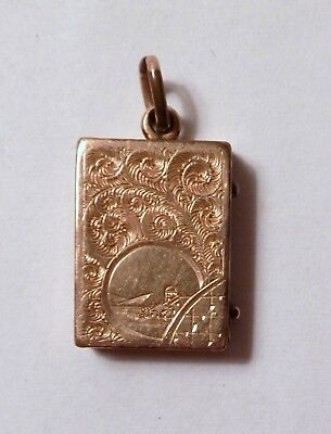 Antique Circa 1880 Gold Plated Watch Fob Photo Locket Pendant Ornate Etched