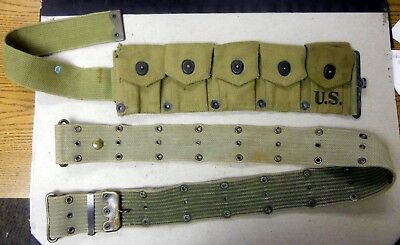 WW2  Rare Original 5 Pouch Cartridge Belt And Waist Belt.
