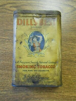 Vintage Dill's Best Smoking Tobacco All Original Tin Container Pipe Cigarette