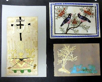 Vintage Folk Art Collection Of 3 Handmade Cards. Needlepoint, Cut out, Painting.