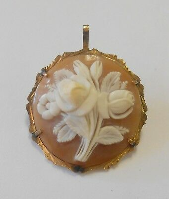 Gorgeous 14K Gold Round Carved Detailed Cameo Rose Bouquet Brooch Pendant