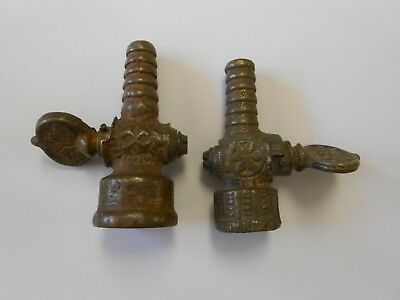2 Antique Solid Brass Ornate Valve Spigot Petcocks 2 Sizes