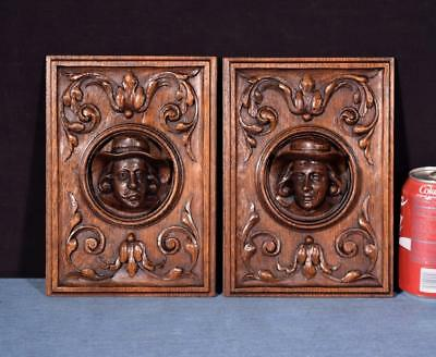 *Pair of French Antique Deep Carved Architectural Panels Doors Solid Oak w/Faces