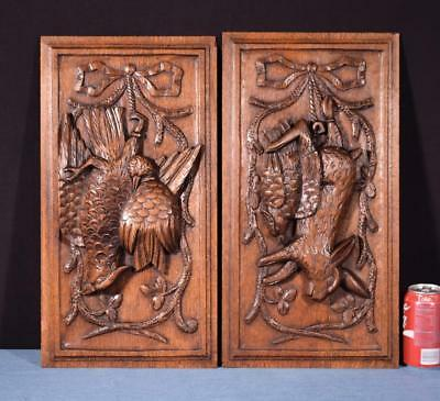 *Pair of Antique French Louis XVI Style Carved Panel in Oak Wood Hunting Salvage