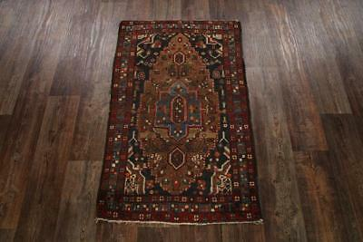 Pre-1900 Geometric Antique 3x4 Tebriz Persian Oriental Hand-Knotted Area Rug