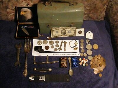 Junk Drawer knives Silver coins gold Sterling vintage watch ww11 coins buffalo .