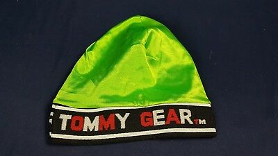 Vintage Tommy Hilfiger Gear Skullcap Beanie 90s Lime Green Silky Sheen Hip  Hop 9326602affa5