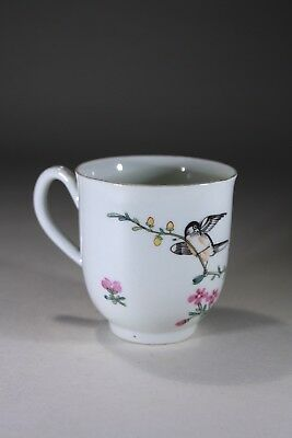 Antique Chinese Porcelain Coffe Cup Bird Flowers & Fruit