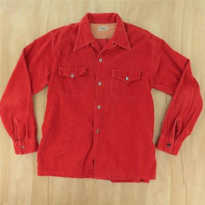 vtg 40s 50s MOHAWK sportswear red corduroy shirt LARGE tag faded work camp