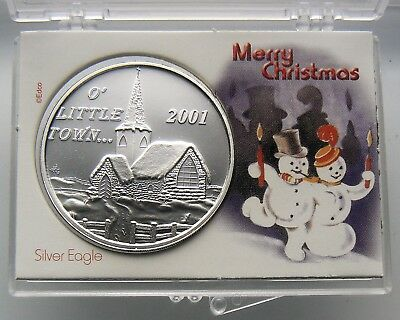 1 OZ .999 FINE SILVER ROUND in holder 2001 MERRY CHRISTMAS - O' LITTLE TOWN