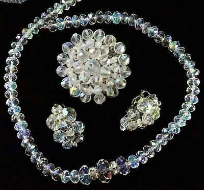 Vintage to Now Lot of AB Aurora Borealis Crystal Jewelry Necklace Pin Earrings