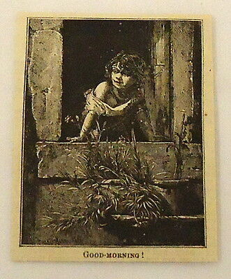 small 1882 magazine engraving ~ CHILD LOOKS OUT WINDOW IN THE MORNING